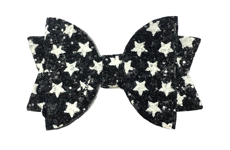 Vrolijke zwarte glitter haarstrik met witte sterretjes.  In een mooie dubbellaagse look.  Op een handig alligatorknipje van ongeveer 4.5 centimeter.