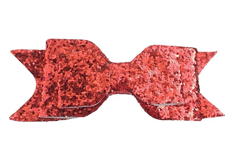 Mooie rode glitter haarstrik. Op een gebogen haarspeld. De haarspeld, het gedeelte dat in het haar vast klikt, is ongeveer 5 centimeter.