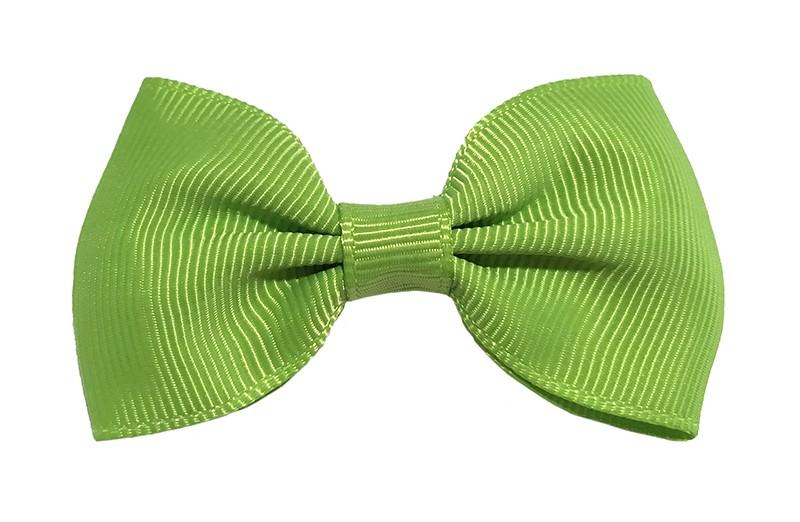Vrolijk appel groen peuter kleuter meisjes haarstrikje van lint. Op een handig alligator knipje.