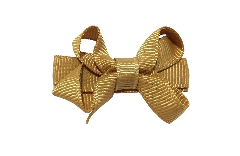 Lief klein haarknipje met een mooi strikje van camel licht bruin geribbeld lint. Op een alligatorknipje ook bekleed met hetzelfde camel bruin lint.