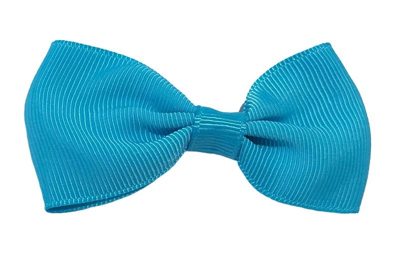 Vrolijk fel blauw peuter, meisjes haarstrikje van lint. Op een handig alligator knipje.