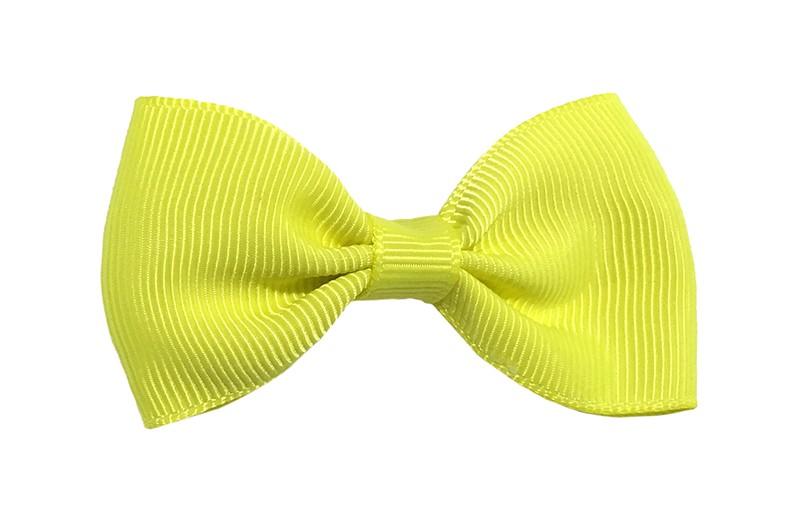 Vrolijk fel geel peuter, meisjes haarstrikje van lint. Op een handig alligator knipje.