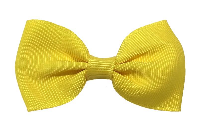 Vrolijk geel peuter, meisjes haarstrikje van lint. Op een handig alligator knipje.