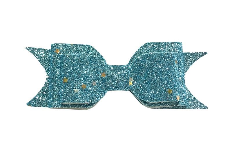 Vrolijke licht blauwe glitter haarstrik, middelgroot. Met hier en daar een glinsterend sterretje. Voor peuter, kleuter meisjes. Op een handig alligator knipje van 4.5 centimeter.