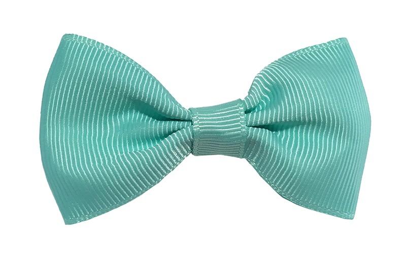 Vrolijk licht groen blauw peuter kleuter meisjes haarstrikje van lint. Op een handig alligator knipje.