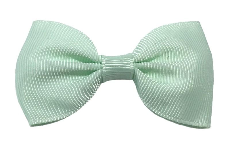 Vrolijk licht mint groen peuter, meisjes haarstrikje van lint. Op een handig alligator knipje.