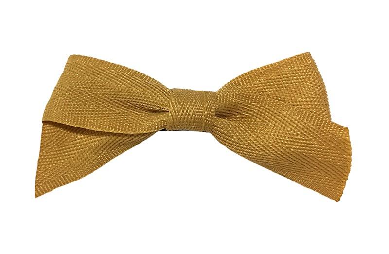 Leuk haarstrikje van oker geel lint. Op een handige alligator knip bekleed met bruin lint.  Het knipje is ongeveer 4.5 centimeter.