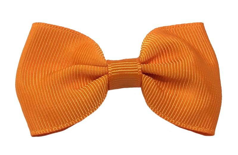 Vrolijk oranje peuter, meisjes haarstrikje van lint. Op een handig alligator knipje.