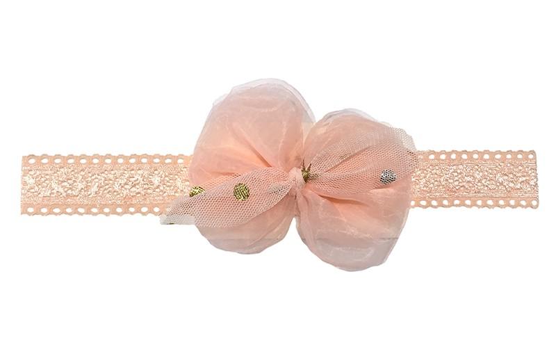Schattig zalmroze baby peuter haarbandje.  Met een zalmroze strikje van tule met gouden stipjes.  Het haarbandje is van goed rekbaar kant, geschikt tot en met ongeveer 2 jaar.