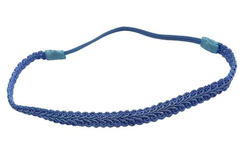 Schattig blauw meisjes haarbandje in kantlook.  Het haarbandje heeft een goed rekbaar, elastische deel. Het haarbandje is hierdoor geschikt voor kleine, peuter meisjes vanaf ongeveer 3 jaar en ook voor grotere meisjes tot ongeveer 10 jaar.