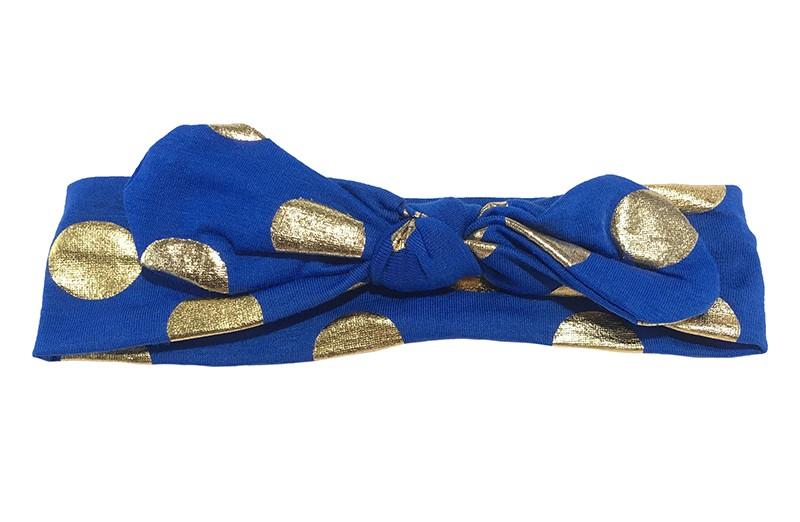 Leuk blauw meisjes haarbandje (baby, peuter, kleuter) met glanzend gouden stippen. Dit haarbandje is van zachte rekbare stof, geknoopt in 'konijnenoortjes'