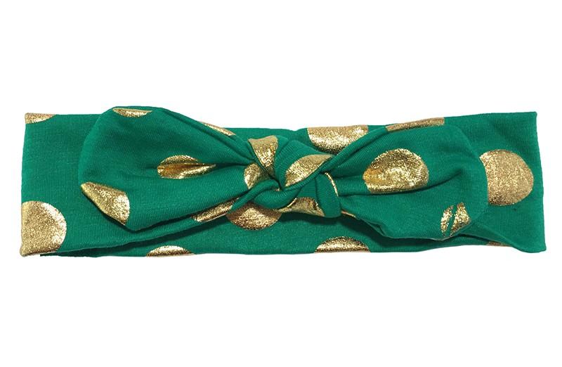 Leuk donkergroen meisjes haarbandje (baby, peuter, kleuter) Met vrolijke glanzend gouden stippen.  Dit haarbandje is van zachte rekbare stof, geknoopt in