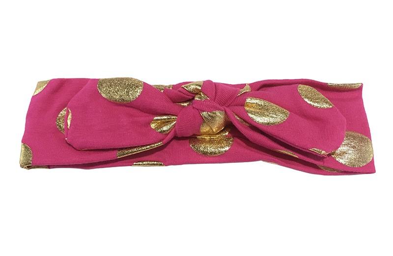 Leuk (fel roze) fuchsia roze meisjes haarbandje (baby, peuter, kleuter) met glanzend gouden stippen. Dit haarbandje is van zachte rekbare stof, geknoopt in 'konijnenoortjes'