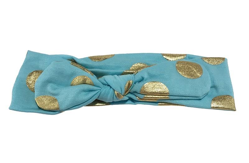 Leuk lichtblauw meisjes haarbandje (baby, peuter, kleuter) met glanzend gouden stippen. Dit haarbandje is van zachte rekbare stof, geknoopt in 'konijnenoortjes'