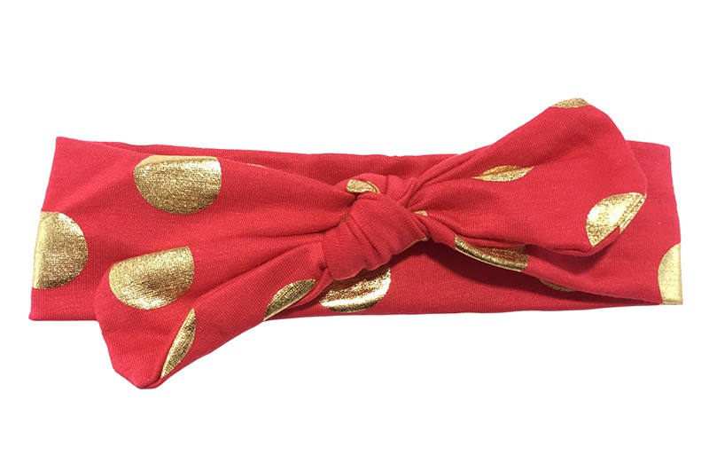 Leuk rood meisjes haarbandje (baby, peuter, kleuter) met glanzend gouden stippen.  Dit haarbandje is van zachte rekbare stof, geknoopt in