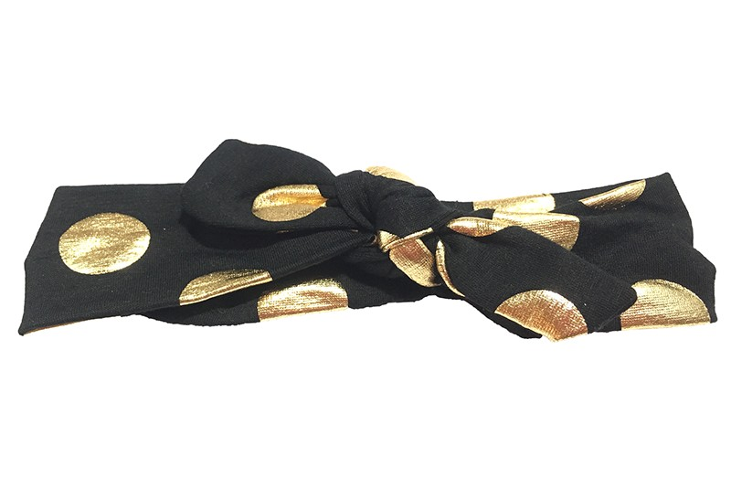 Leuk zwart meisjes haarbandje (baby, peuter, kleuter) met glanzend gouden stippen.  Dit haarbandje is van zachte rekbare stof, geknoopt in