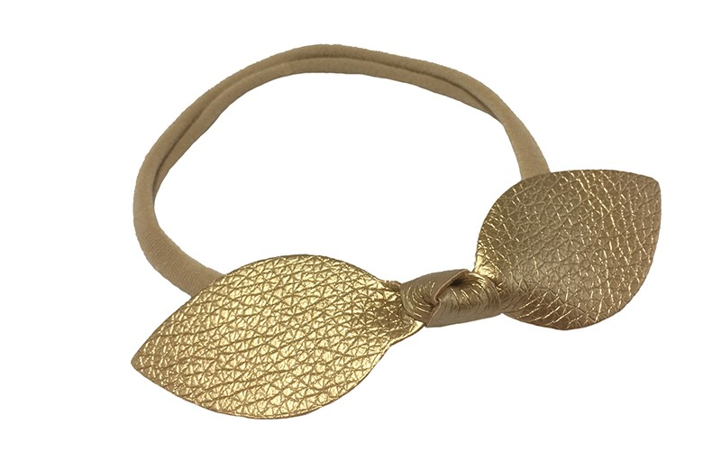 Leuk baby peuter kleuter haarbandje.  Van dun, goed rekbaar nylon. Met een goud nep leren knoopstrikje van ongeveer 10 centimeter.