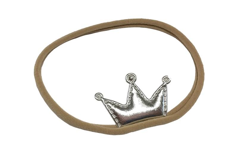 Vrolijk nylon baby peuter haarbandje met een zilver kroontje.  Het haarbandje is van rekbaar nylon, geschikt tot ongeveer 2 jaar.