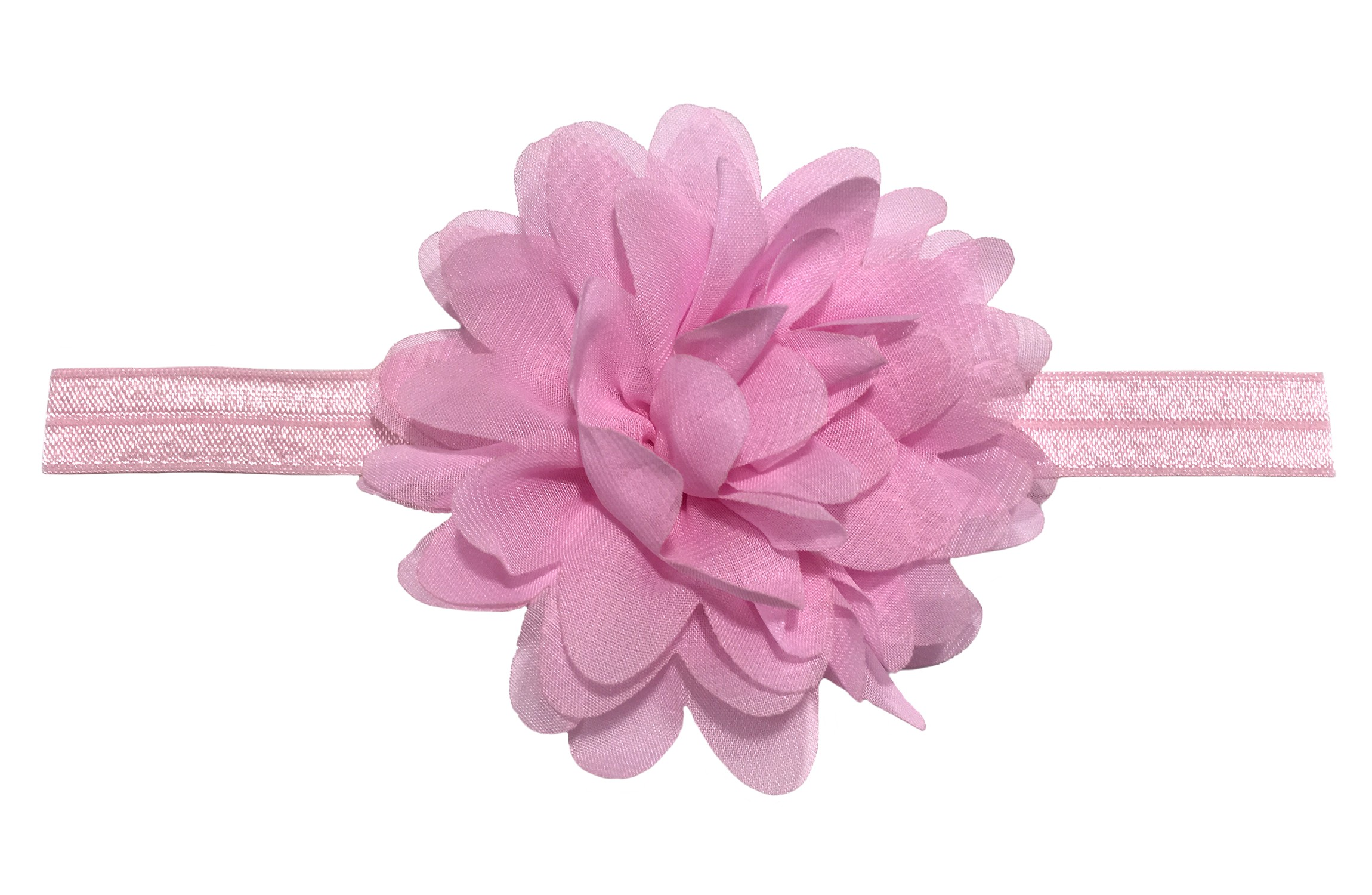 Vrolijk (zalm) roze peuter kleuter haarbandje.  Met een grote licht roze chiffon bloem.  Het haarbandje is van goed rekbaar elastiek.