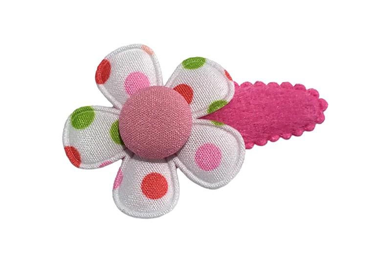 Vrolijk fuchsia roze fluffie peuter haarspeldje.  Met een witte bloem met gekleurde stippen.  Afgewerkt met een licht roze stofknoopje.