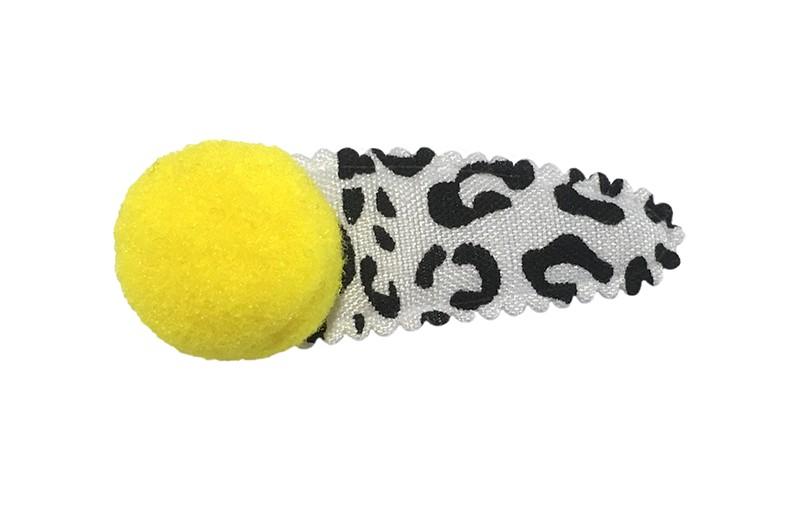 Vrolijk peuter en kleuter haarspeldje in zwart wit dieren print.  Met een fel geel pompommetje.