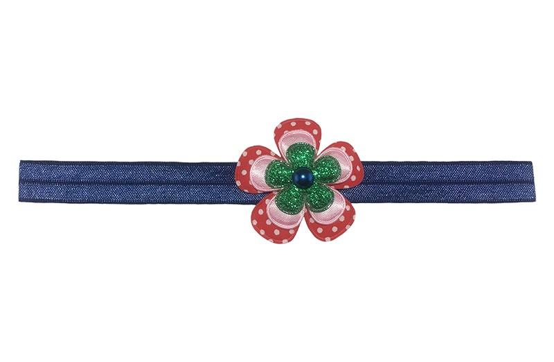 Vrolijk blauw peuter kleuter haarbandje.  Met een rood gestippeld bloemetje, een effen lichtroze bloemetje, een groen glitter bloemetje en een donkerblauw pareltje.  Het haarbandje heeft een finne rek daardoor geschikt tot en met ongeveer 4 jaar.