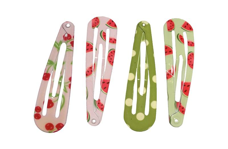Leuk setje van 4 verschillende basis haarspeldjes. In roze en groene kleurtjes. Met vrolijke motiefjes: stippen, kersjes en watermeloen.