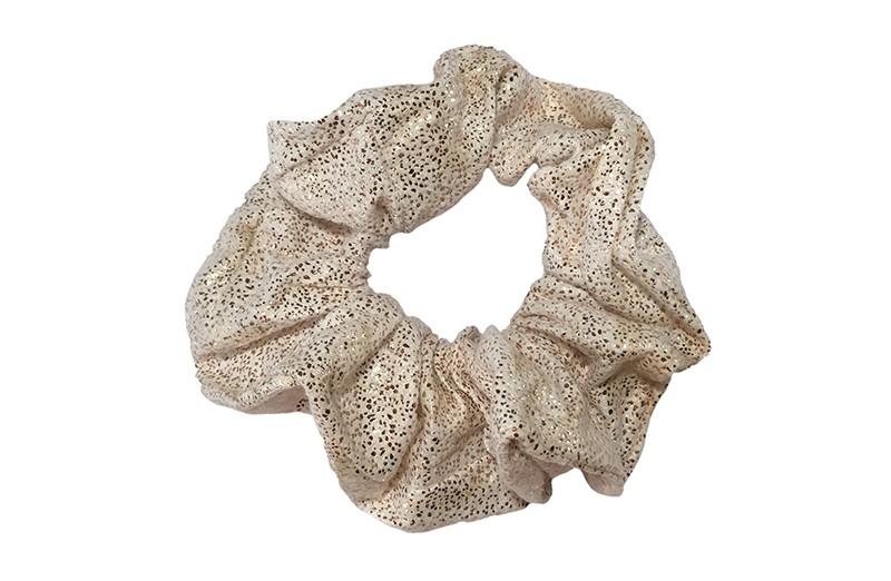 Vrolijke creme stoffen meiden scrunchie met goud glitterlook.  Geschikt voor meisjes, tieners, dames.