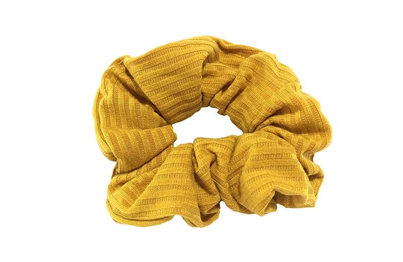 Hippe mosterd gele scrunchie in riblook. Geschikt voor grote en kleine meiden, tieners.
