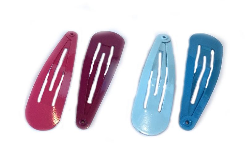 Leuk setje van 4 gesorteerde basis haarspeldjes.  1 bordeaux rood, 1 roze, 1 licht blauw en 1 fel blauw