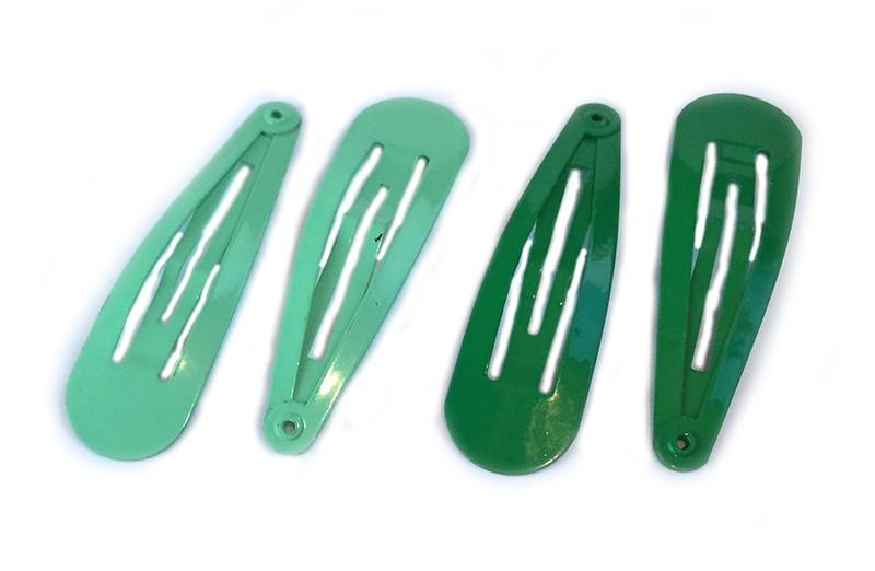 Leuk setje van 4 basis haarspeldjes. 2 mint groen en 2 donker groen.