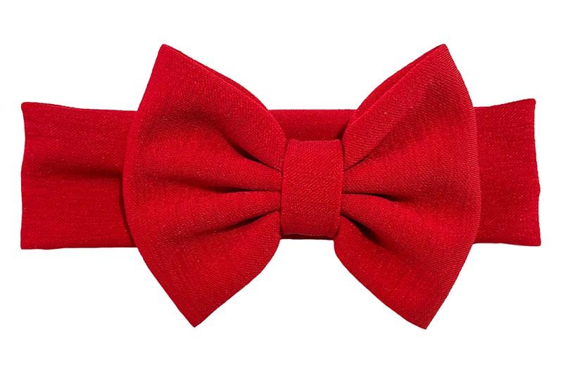 Vrolijk rood stoffen baby peuter meisjes haarband.  Van rekbare stof met een grote stoffen strik. De strik is ongeveer 12 centimeter breed.