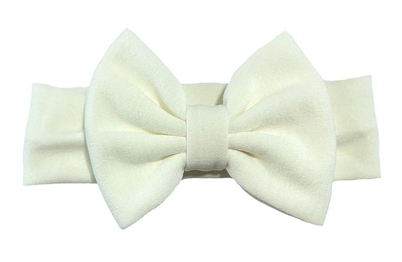 Vrolijke wit stoffen baby peuter meisjes haarband. Van rekbare stof met een grote stoffen strik. De strik is ongeveer 12 centimeter breed.
