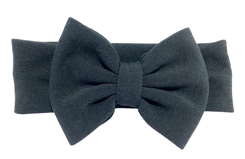 Leuke zwart stoffen baby peuter meisjes haarband.  Van rekbare stof met een grote stoffen strik. De strik is ongeveer 12 centimeter breed.