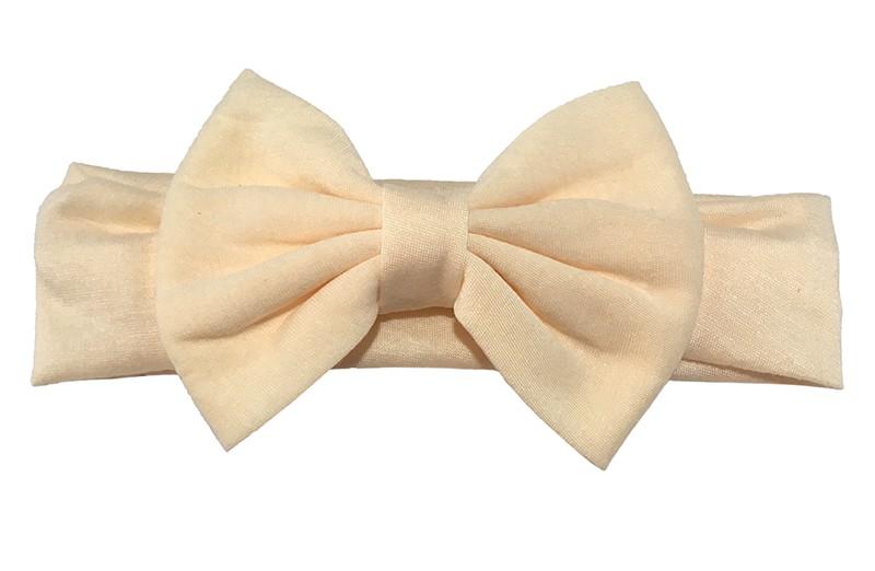 Schattige creme peuter meisjes haarband van rekbare stof met een grote stoffen strik.