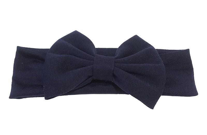 Mooie diep donkerblauwe baby peuter haarband van rekbare stof met een grote stoffen strik.