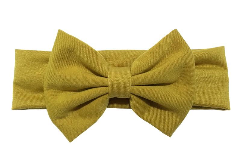 Schattige donker (oker) gele baby peuter haarband van rekbare stof met een grote stoffen strik.