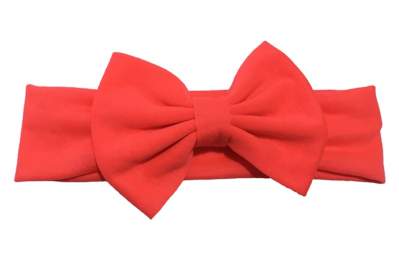 Leuke fel (neon) oranje baby peuter haarband van rekbare stof met een grote stoffen strik.