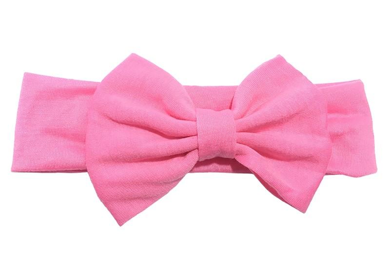 Schattige fel roze baby peuter meisjes haarband van rekbare stof met een grote stoffen strik.
