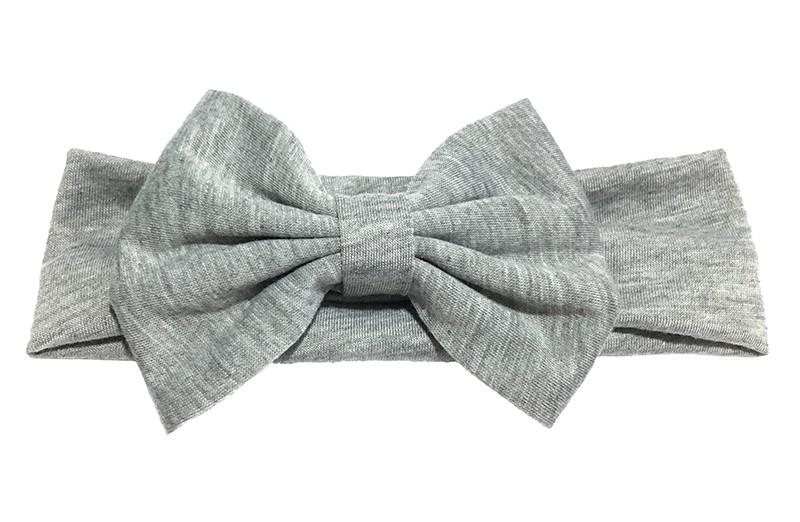 Schattige grijze baby peuter meisjes haarband van rekbare stof met een grote stoffen strik.