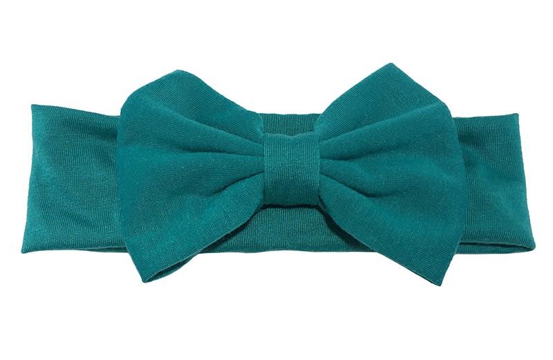 Schattige groene baby peuter haarband van rekbare stof met een grote stoffen strik.