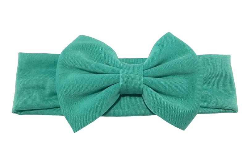 Schattige zeegroene (jade groene) baby peuter meisjes haarband van rekbare stof met een grote stoffen strik.