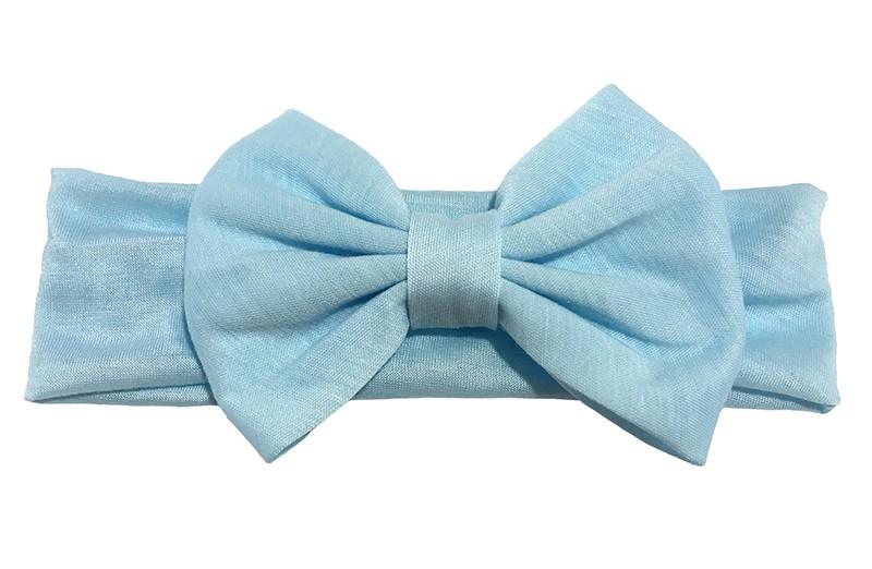 Schattige licht blauwe baby peuter haarband van rekbare stof met een grote stoffen strik.