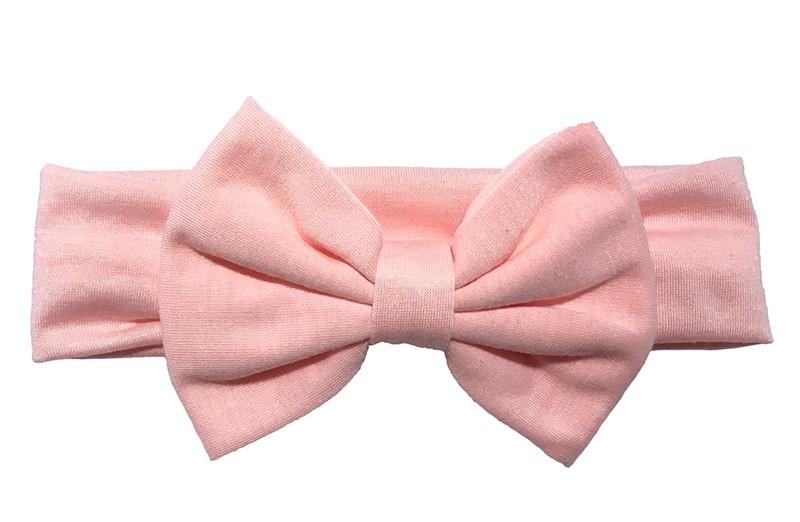 Schattige licht roze baby peuter meisjes haarband van rekbare stof met een grote stoffen strik.