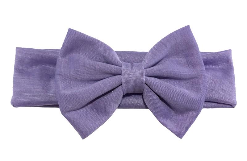 Schattige lila paarse baby peuter meisjes haarband van rekbare stof met een grote stoffen strik.