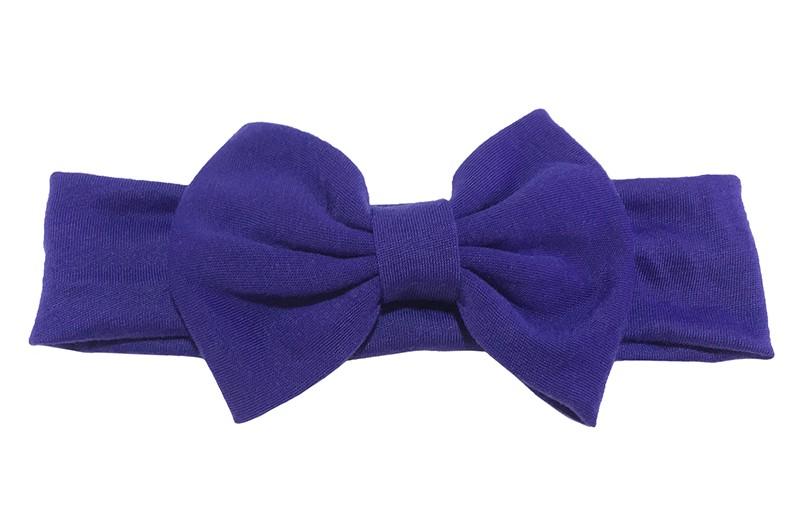 Schattige paarse baby peuter haarband van rekbare stof met een grote paarse stoffen strik. Het bandje is ongeveer 4 centimeter breed en de strik is ongeveer 12 centimeter breed.