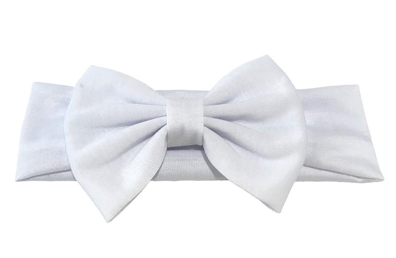 Schattige witte baby, peuter meisjes haarband van rekbare stof met een grote stoffen strik.