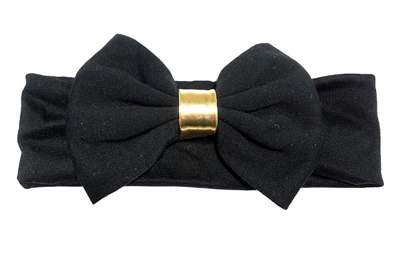 Schattige zwarte baby haarband van rekbare stof. Met een grote zwarte stoffen strik en een goudkleurig bandje.