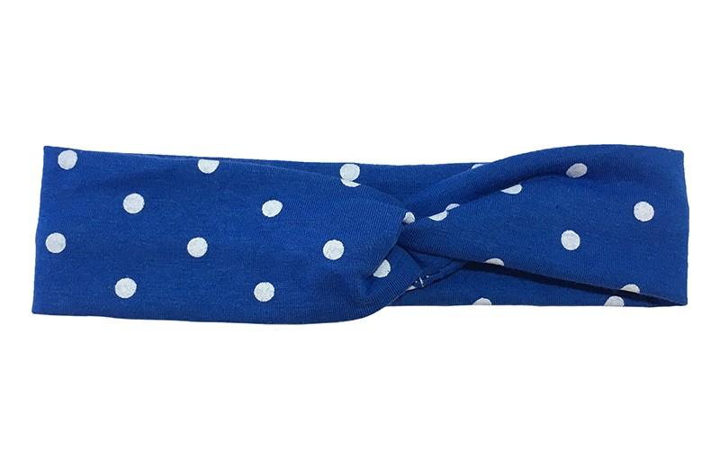 Leuk (budget) kobalt blauw stoffen baby, peuter haarbandje in twist model met witte stippen.  Van dunne rekbare stof, geschikt tot ongeveer 2 jaar.