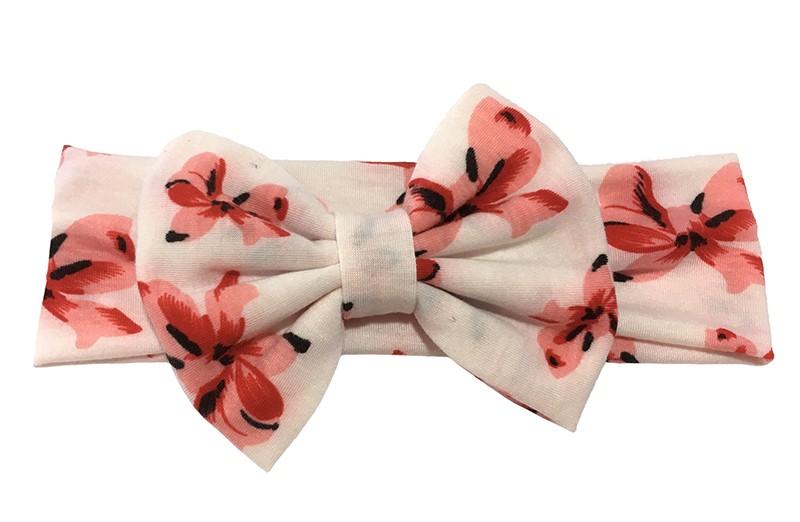 Leuke creme kleurige kleuter, meisjes haarband met rood roze bloemmotiefjes.  Deze haarband is van zachte goed rekbare stof. Ook geschikt voor grotere meisjes. Met een grote stoffen strik van ongeveer 8 centimeter hoog